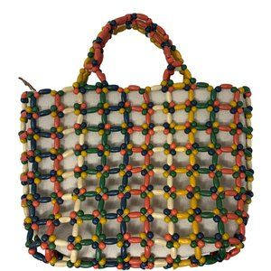 New Madewell The Small Transport Tote Beaded Edition in Natural Rainbow